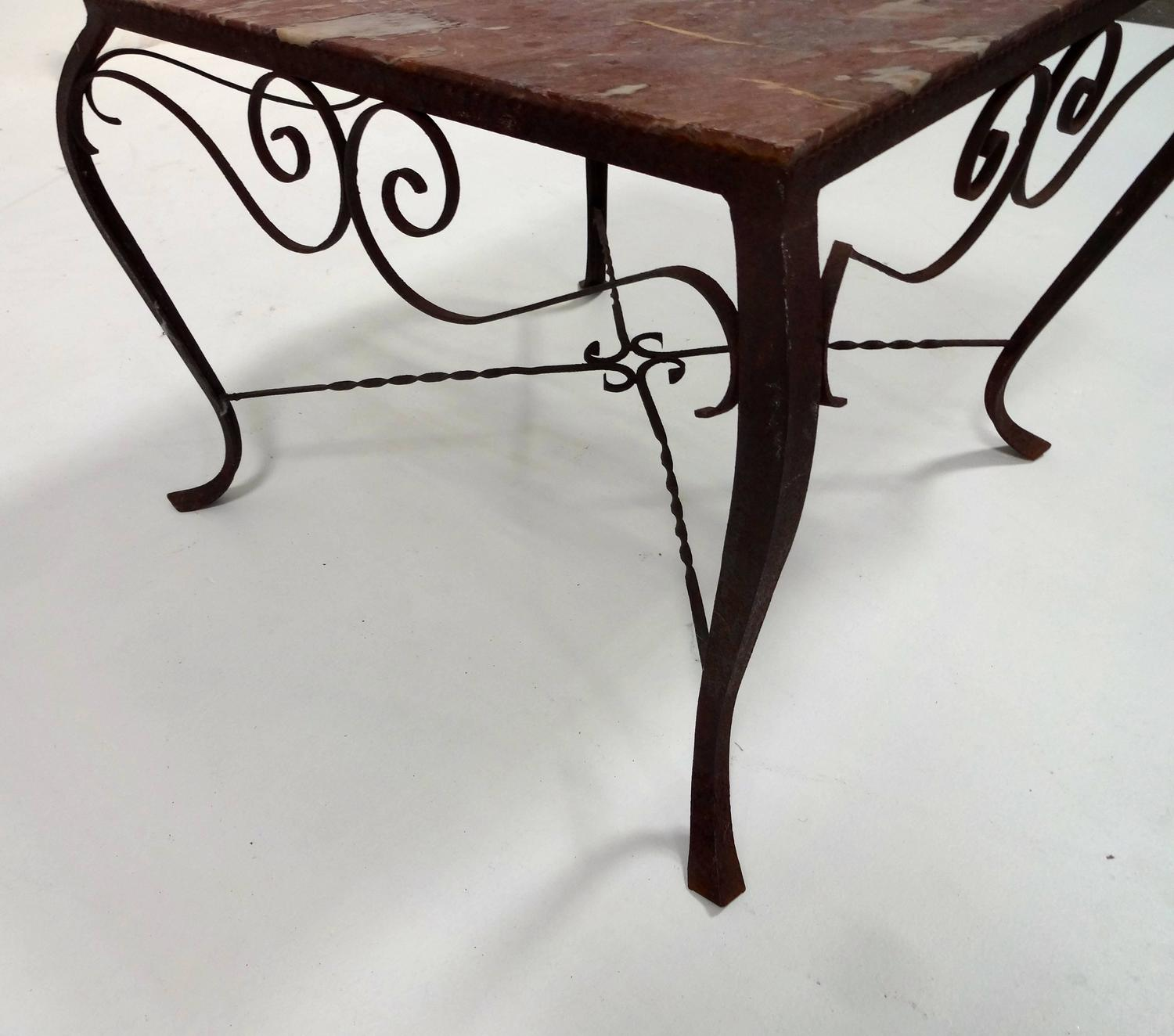 French wrought iron marble top coffee table for sale at for Marble and wrought iron coffee table