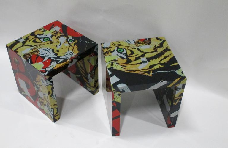 """Pair of """"Decollage"""" Metal Side Tables by Mimmo Rotella and Marco Ferreri 6"""