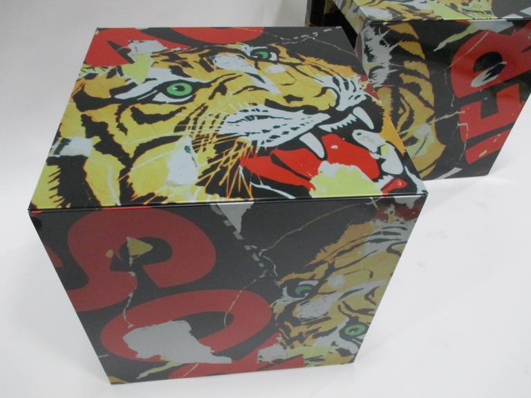"""Pair of """"Decollage"""" Metal Side Tables by Mimmo Rotella and Marco Ferreri 5"""