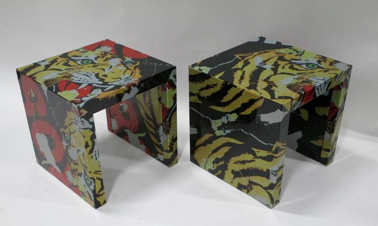 """Pair of """"Decollage"""" Metal Side Tables by Mimmo Rotella and Marco Ferreri 2"""