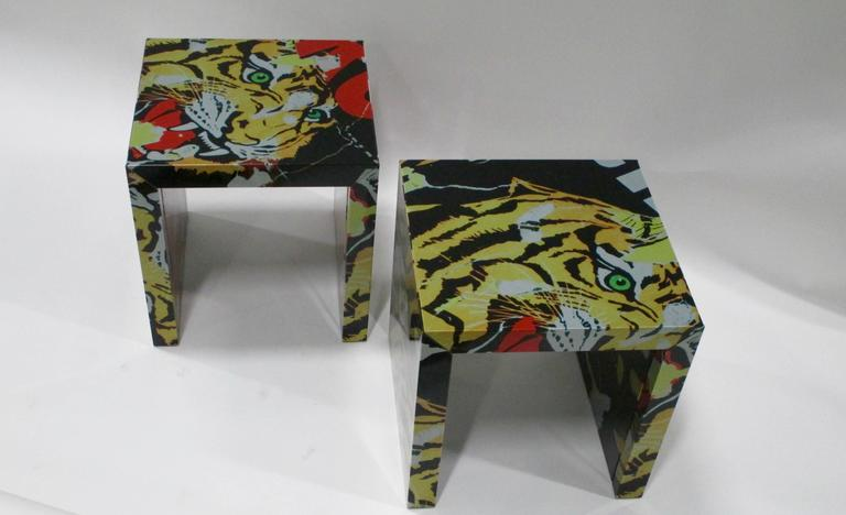 """Pair of """"Decollage"""" Metal Side Tables by Mimmo Rotella and Marco Ferreri 3"""
