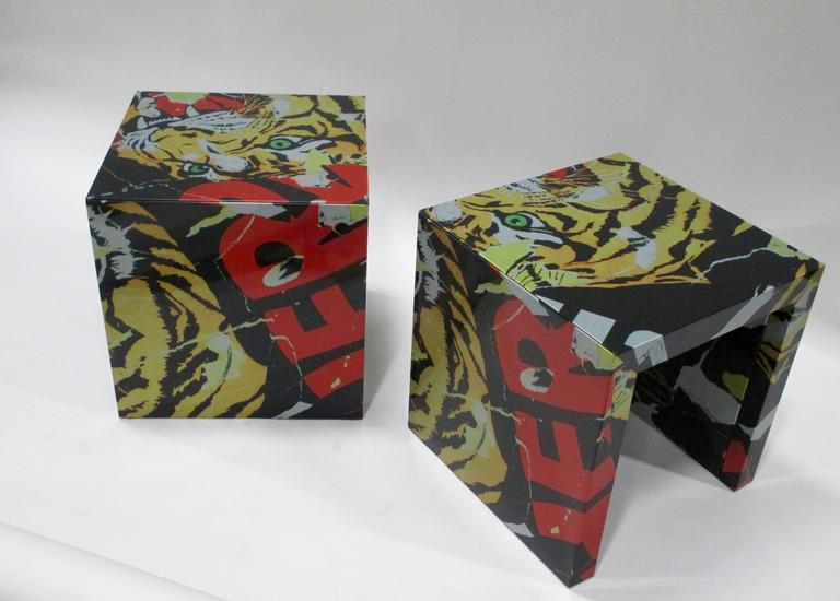 """Pair of """"Decollage"""" Metal Side Tables by Mimmo Rotella and Marco Ferreri 4"""