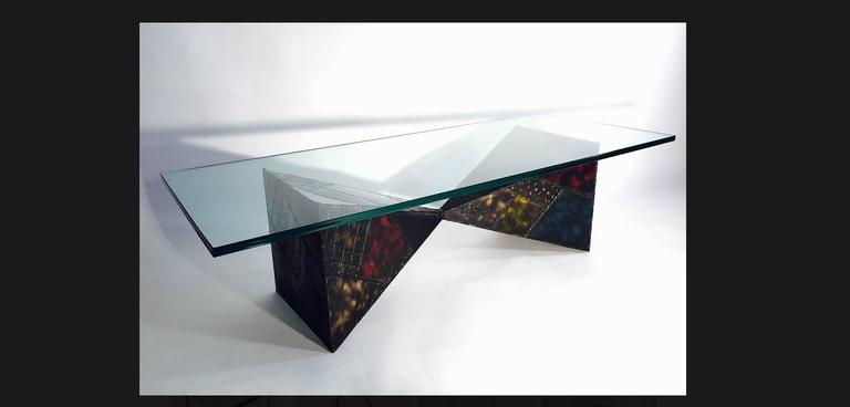 Modern Steel Sculpted Pyramid Coffee Table by Paul Evans For Sale