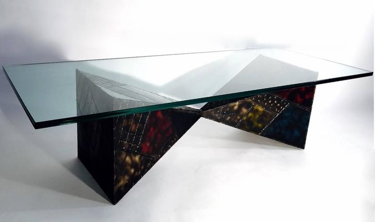 Steel sculpted pyramid coffee table 1971 by Paul Evans.