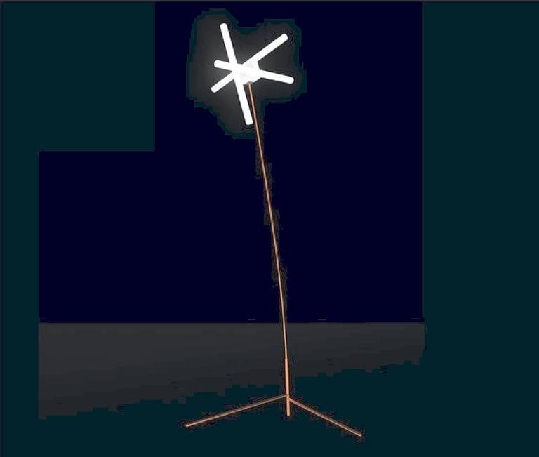 Magical standing floor lamp with rosette and tube in copper plate steel and polished brass steel scotch, blub holder in chromed brass with LED bulbs.