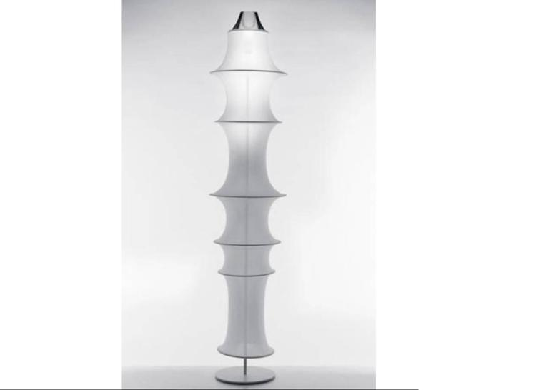 A floor lamp by designer Bruno Munari in natural aluminium with white color elastic fabric diffuser.