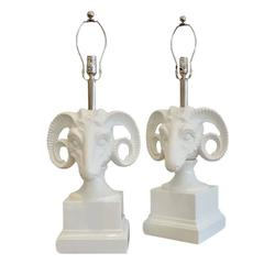 Pair Of Porcelain Ceramic Ram S Head Decorator Lamps For