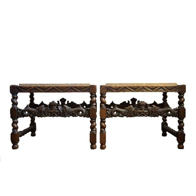 Pair of 19th Century Jacobean End Tables For Sale