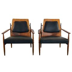 Rare Pair of Mid Century Modern Red Elm Chairs