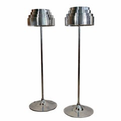 Pair of Midcentury Chrome Torchere
