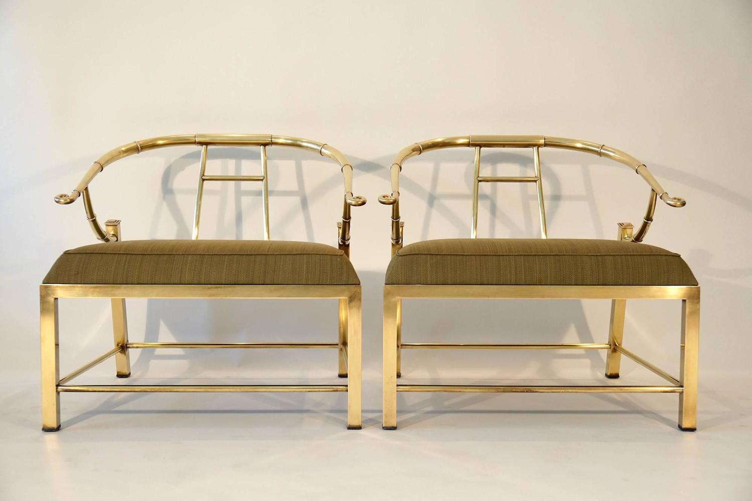 Pair Of Brass Lounge Chairs By Mastercraft For Sale At 1stdibs