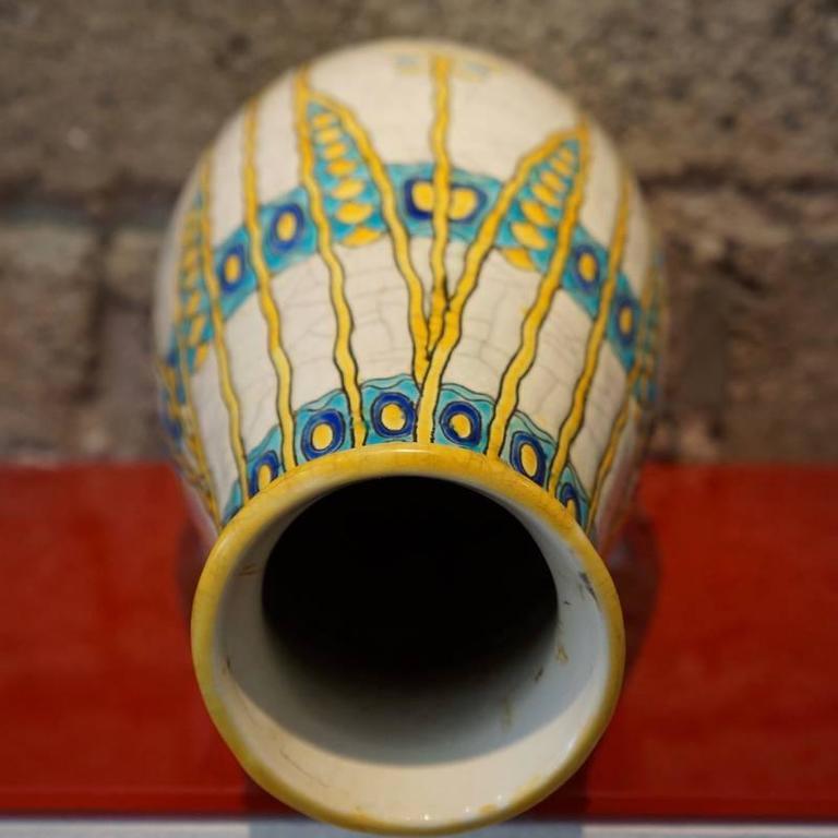Charles Catteau Three Color Patterned Vase 6