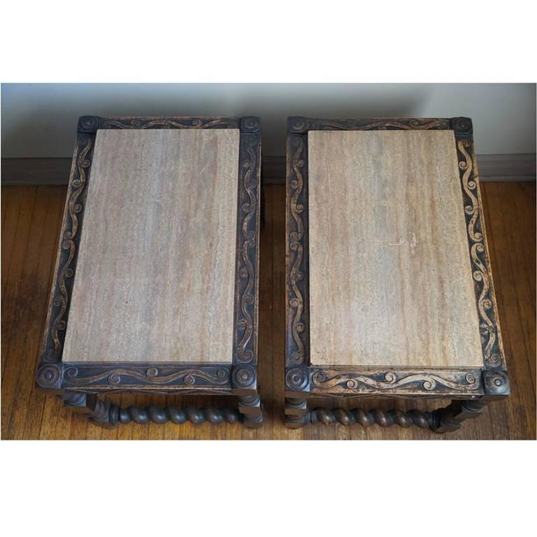 Oak Pair of 19th Century Jacobean End Tables For Sale