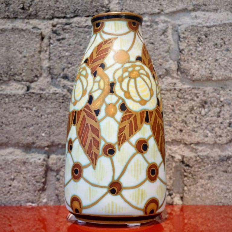 """Charles Catteau vase for Boch Freres La Louviere. """"Polychrome design with stylized floral motifs""""."""