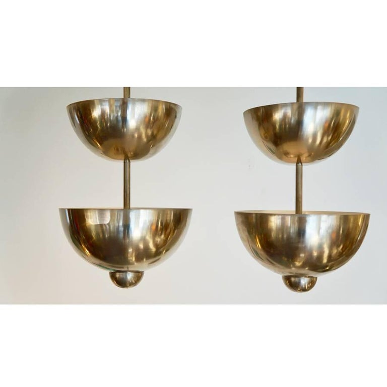 Pair of Modernist French Graduated Dome Pendants 3