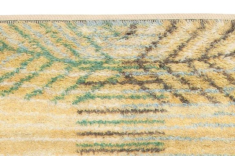 Hand-Knotted Swedish Rya Rug by Barbro Nilsson for Marta Maas-Fjetterström For Sale
