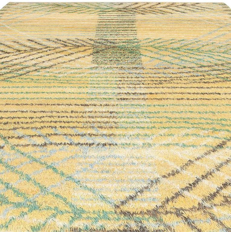 20th Century Swedish Rya Rug by Barbro Nilsson for Marta Maas-Fjetterström For Sale