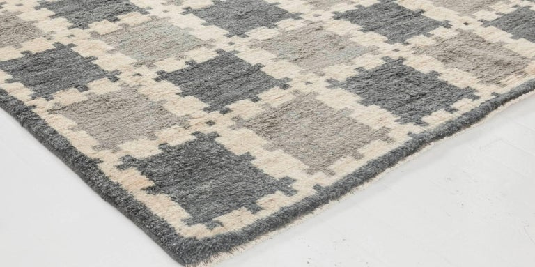 Hand-Woven Scandinavian Design Geometric Gray Hand Knotted Wool Pile Rug For Sale
