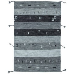 Grey Contemporary Flat-Weave Rug