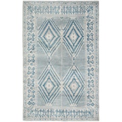Blue Antique Indian Cotton Agra Rug