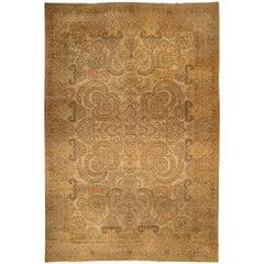 Camel Antique Persian Kirman Rug