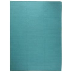 Turquoise Viscose Flatweave Rug with Geometric Pattern