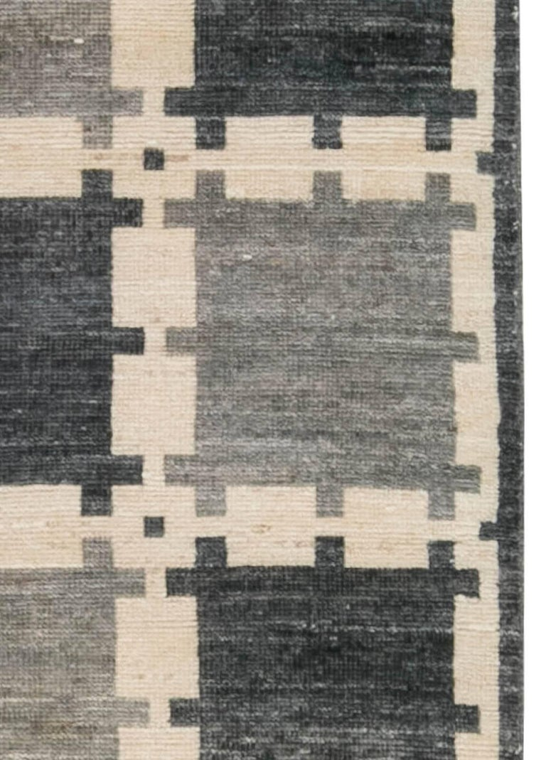 Hand-Knotted Gray Swedish Pile Rug For Sale