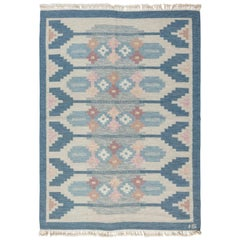 Blue Vintage Swedish Flat Weave Rug Signed by Ingegerd Silow