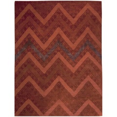 Red Contemporary Tibetan Zig Zag Rug