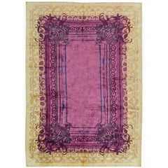 Pink Contemporary Silk Rug