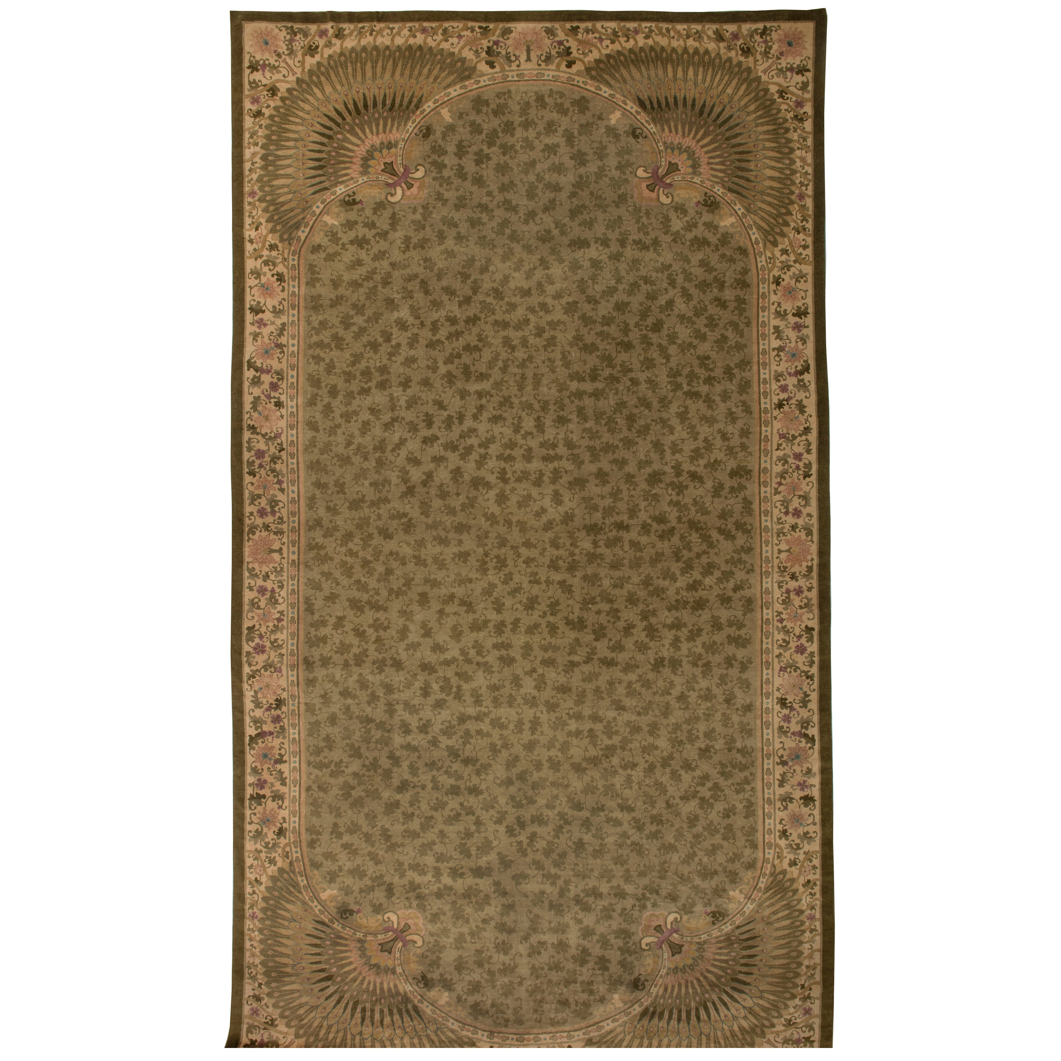 Vintage Aubusson Garden Trellis Chinese Rug For Sale at 1stdibs
