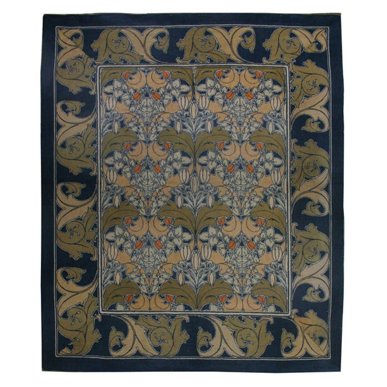 Vintage Arts & Crafts Voysey Rug (Size Adjusted)