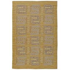Yellow Vintage Swedish Flat-Weave Rug