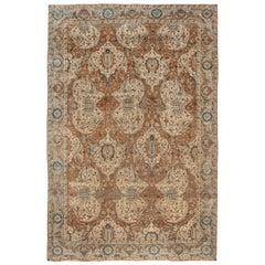 Brown Antique Persian Kirman Rug