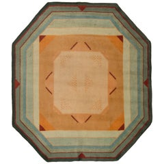 Green Vintage French Art Deco Rug