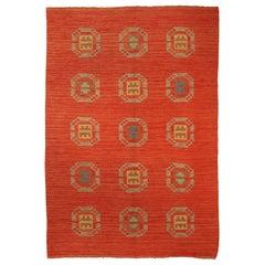 Red Vintage Swedish Flat-Weave Carpet