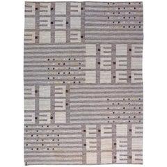 Grey Vintage Swedish Flat-Weave Rug