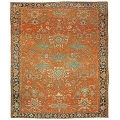 Orange Antique Persian Heriz Rug