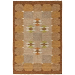Mid-century Swedish Flat-weave Rug Signed by Ingegerd Silow
