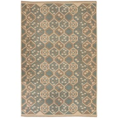 Vintage Swedish Flat-Weave Double-Sided Rug
