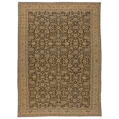 Brown Persian Malayer Antique Rug