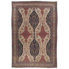 Beige Oversized Antique Persian Kirman Rug