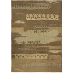Brown Vintage French Deco Rug