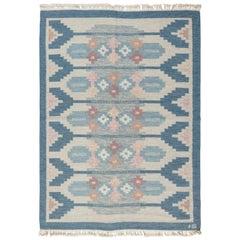Blue Vintage Swedish Flat-Weave Rug Signed by Ingegerd Silow