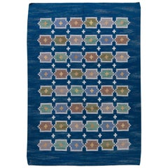Blue Vintage Swedish Flat-Weave Rug by Judith Johansson