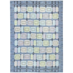 Blue Vintage Swedish Flat-Weave Rug by Judith Johansson