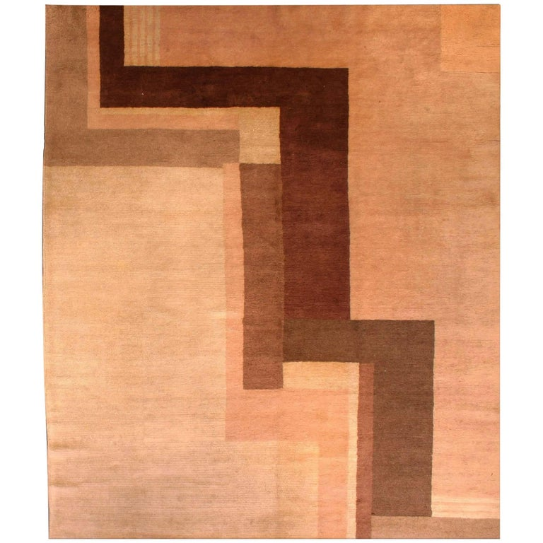 Early 20th Century Art Deco Decorative Area Rug For Sale