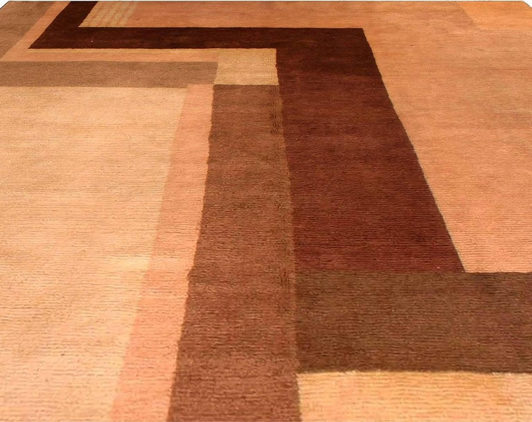Hand-Knotted Early 20th Century Art Deco Decorative Area Rug For Sale