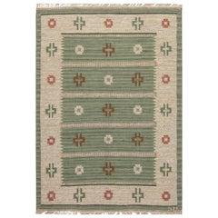 Vintage Swedish Flat-Weave rug Signed by Svensk Hemslojd