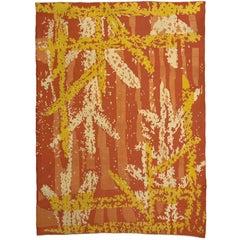 Orange Vintage French Art Deco Rug